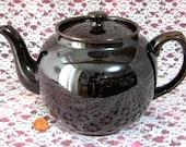 Sadler Brown Betty Teapot Vintage 1960s England 6 Cups Rockingham Glaze Tea Party Afternoon Tea