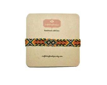 Handmade Friendship Bracelet - Friendship Bracelet - Handmade - Bracelet - CS Wooden Charm - Orange Bracelet - Aztec Bracelet
