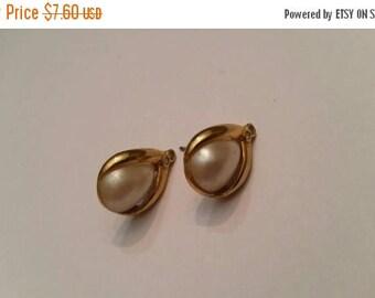 SALE Vintage Avon Pearl Rhinestone Gold Earrings Bride Wedding Costume Jewelry
