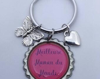 Cadeau Maman, Cadeau Mère, Mom Gift, French Keychain, Porte-clés Maman, Mother Gift, Meilleure Maman, Mother's Day, Cadeau, Fete des Mères