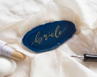 Modern Calligraphy Agate Place Cards, Agate Slice Place Cards, Wedding Place Cards