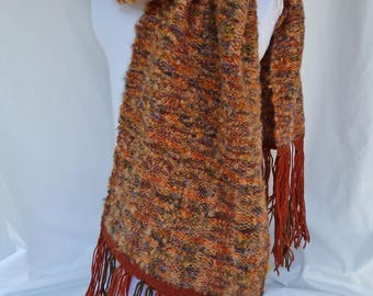Handwoven Boucle Shawl - Orange and Dark Green