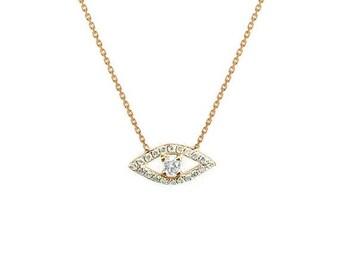 ON SALE Diamond evil eye necklace