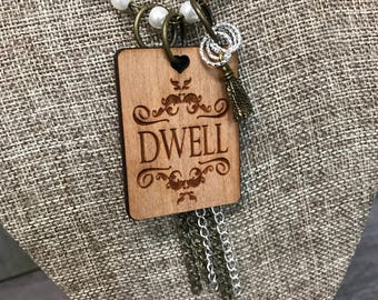 Dwell Pearl Necklace, Handcrafted Laser Engraved, Customized Jewelry, Bursting Barns Laser Engraving