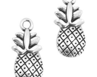 "DQ Metal Pendant ""pineapple"", Charm-2 pcs.-Zamak-color selectable (color: silver)"