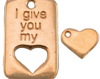 """DQ Metal Pendant-""""I give you my""""-1 piece-30 x 20 mm-Silver plated or gilded-Zamak (colour: Gold)"""