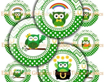 SALE 40% Off St. Patrick's Day Bottlecap Images. DIGITAL. Chevron and Polka Dot 5 Different Designs. Digital Collage Sheet. 1 Inch Printable