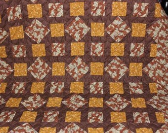 Churn Dash Quilt - Lap Quilt - Brown and Gold Quilt - Rustic Quilt - Paisley Quilt - Handmade Throw Size Quilt - READY TO SHIP!!!