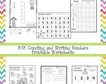 303 Counting and Writing Numbers Worksheets Download. ZIP file. Preschool-KDG
