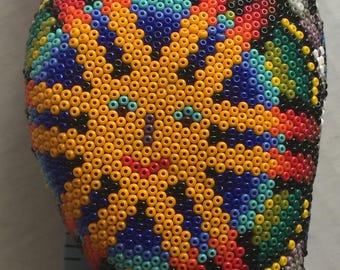 Huicholi Owl Vintage Figurine Beadwork Colorful Psychedelic Sunshine Rainbows Huuate Peyote Buttons