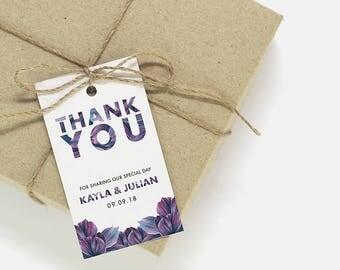 Thank You Tags   Printable thank you tags, favor tags, wedding card template, printable wedding party tag, favor tag, thank you card CA-02