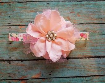 Shabby Chic Flower Headband, Pink Headband, Baby Girl Accessories, Baby Girl Headband, Shabby Chic Flowers, Baby Shower Gift, Baby Photo