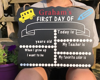 First day of school chalkboard | personalized first day of school chalkboard| first day of school photo prop| peesonalized back to school