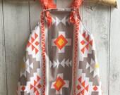 Boys Harem Romper with cross over straps - Orange Aztec Design