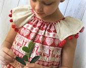 Girls Christmas Dress - Red and Cream with Pom Pom Trim - Sizes 1, 18m, 2, 3, 4, 5, 6