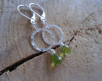 Peridot on Sterling Silver earrings / / minimalist earrings