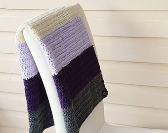 Handmade Blanket/Crochet Baby Blanket/Striped Blanket/Purple Blanket/Crib Blanket/Crochet Stripes/Lilac Blanket/Grey Blanket