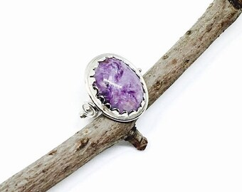 10% Charoite Ring set in sterling silver 925. Size 6.5. Can be sized. Natural authentic charorite stone.