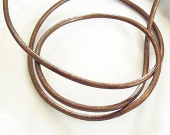 bronze leather cord 3mm colored 25cms