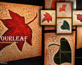 Red Maple Leaf Beige Large Wall Art Deco Pallete Knife Painting, Orange Green Yellow on Beige Textured Canvas Quadriptych Red Maple Wall Art