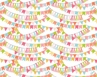 Calliope Bannerline Pink by Blend Fabrics, Birthday banner fabric by the yard, pink birthday fabric, circus fabric, circus birthday banner