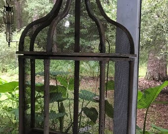 Large Vintage Bird Cage Style. Purely Decorative. Wood and Wire Wall Mount or Table Top Bird Cage
