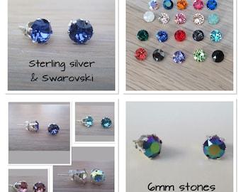 Sterling silver and Swarovski stud ear-rings 6mm