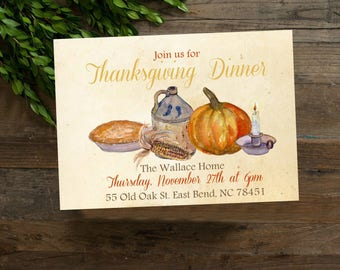 Watercolor Thanksgiving Party Invite, Thanksgiving Chalkboard Invitation Printable, Farmhouse Rustic Invite, Digital File