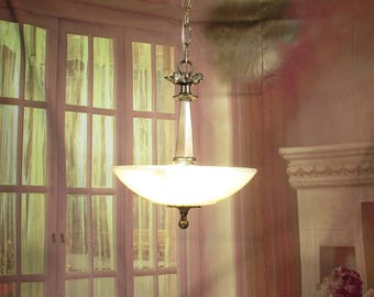 Antique Vintage Chandelier Art Deco Glass Shade Pendant Fixture Pink Rewired