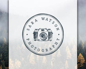 Photography Logo | Camera Logo | Premade Logo Design | Stamp Logo | Modern Logo | Hipster Logo | Photography Watermark | Circle Logo