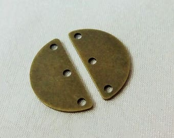 40 Pcs Antique Bronze 10 x 20 mm Semi Circle Stamping Blanks - 3 Hole -Thickness 0.80 mm ( 20 Gauge )