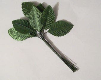 artificial leaves Green artificial leaves with stems for flower making, craft supply - pack 10 satin