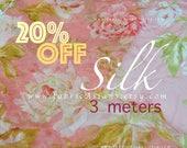 Pink Silk chiffon white flowers fabric on SALE