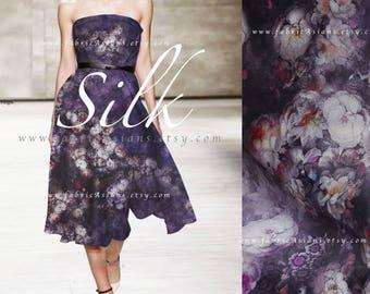 Purple organza Silk buy bridal Fabric