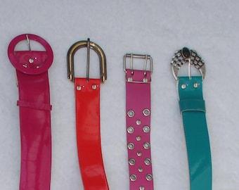 4 Vintage Funky 70s J. Belt-Lacquer Belt Astor