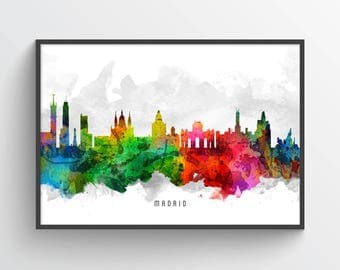 Madrid Poster, Madrid Skyline, Madrid Cityscape, Madrid Print, Madrid Art, Madrid Decor, Home Decor, Gift Idea, ESMD12P