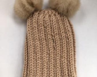Bulky Taupe Wool Beanie | Taupe Wool-Blend Hat | Double Mink Pom Poms | Detachable Fur Pom Poms | Hand-Knit | Ready to Ship