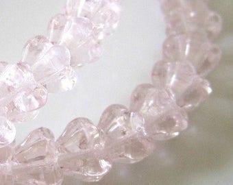 ON SALE Light Rosaline Mini Bell Flower Czech Glass Beads Rose Pink Czech Baby Bell Flowers Rosaline Baby Bells 6x4mm (25pcs) 9V20