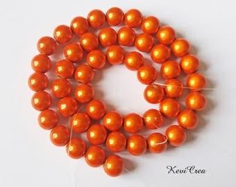 50 x 10mm orange magic pearls