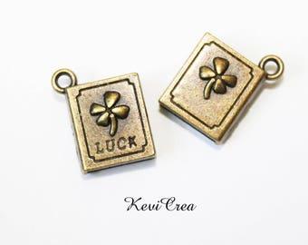 """5 x charms book """"Luck Book"""" 3D metal bronze"""