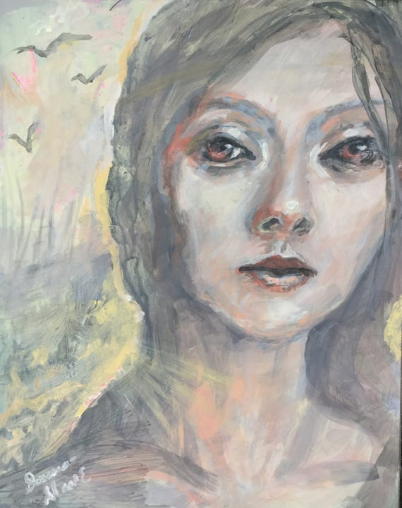 Her thoughts fly free mixed media original painting 11 by 14 Birches Woods Woman Snow Gold Pink Gray