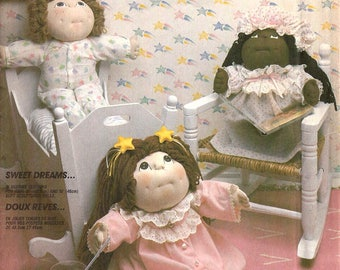 """McCalls Crafts 2242 Sewing Pattern for Soft Sculptured Dolls' Sleepwear Robe Nightgown Nightcap and Pajamas 16"""" and 18"""" Sizes"""