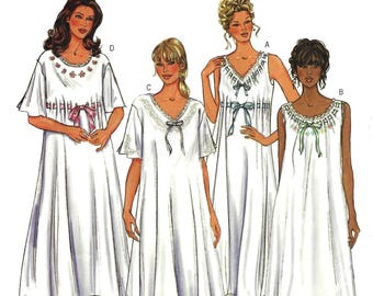 Butterick 3928 Sewing Pattern Misses Easy Loose Fitting Pullover Nightgown Neck and Sleeve Variations sz XS thru M Uncut