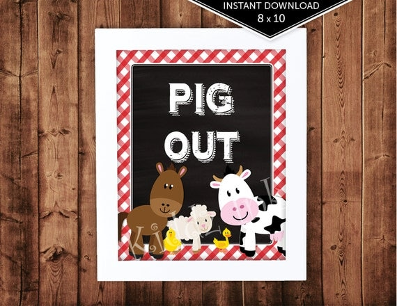 barnyard farm animals birthday pig out table sign decor 8
