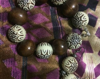 Cocoa Brown with Beige Hand Painted Design Beaded Bracelet for Women