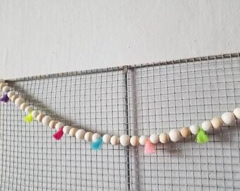 Wood bead garland, felt ball garland decor, tassle garland 6ft spring garland, party banner