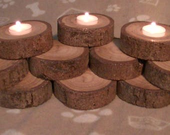 Pine Log Candle Holder Made With Reclaimed Wood