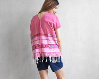Pink huilpil / hand woven huipil with fringe / mexican guatemalan huipil / hand woven top / ethnic pink blouse