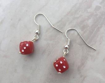Red Dice dangle earrings, lucky dice earrings, drop earrings, novelty earrings, gift for her, stocking filler, gift for gamblers, casino