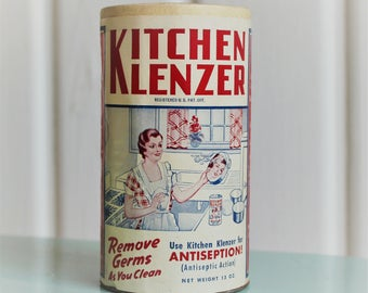 Rare Vintage KITCHEN KLENZER Art Deco 1930s, Red White & Blue, Retro Cleaning Products NOS (Each Sold Separately)